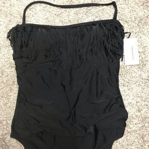 Black one piece swimsuit. New with tags, size 16